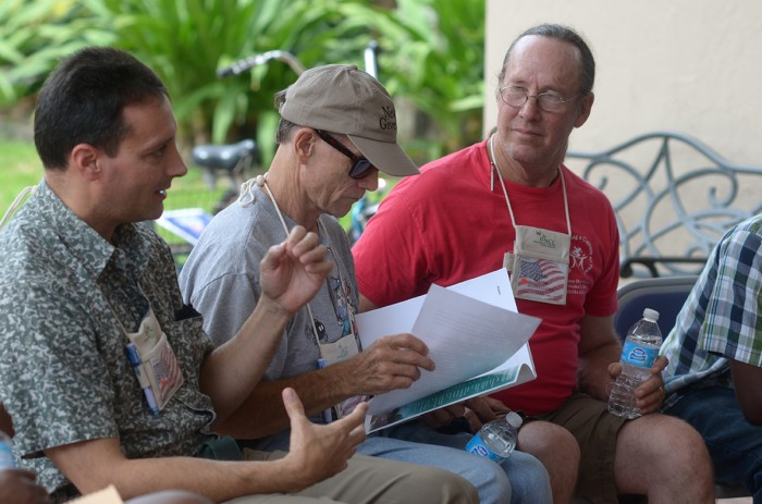Participants of the SGI-USA Veterans/Active Duty Military Conference at the Florida Nature and Conference Center engage in dialogue.